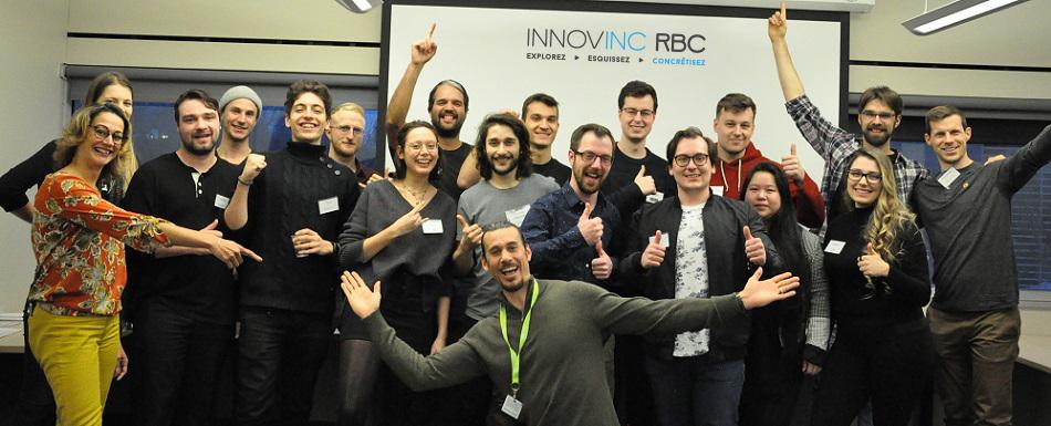 Les représentants des projets sélectionnés en compagnie de Cédric Duvivier, responsable de la série Innovinc. RBC, et de Christelle Chalolo, directrice du Centre d'entrepreneuriat Poly-UdeM.
