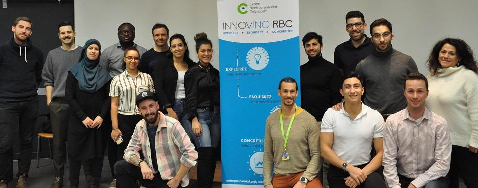 Les représentants des projets en compagnie de Cédric Duvivier, responsable de la série Innovinc. RBC, et de Nada Zogheib, directrice générale du Centre d'entrepreneuriat Poly-UdeM.