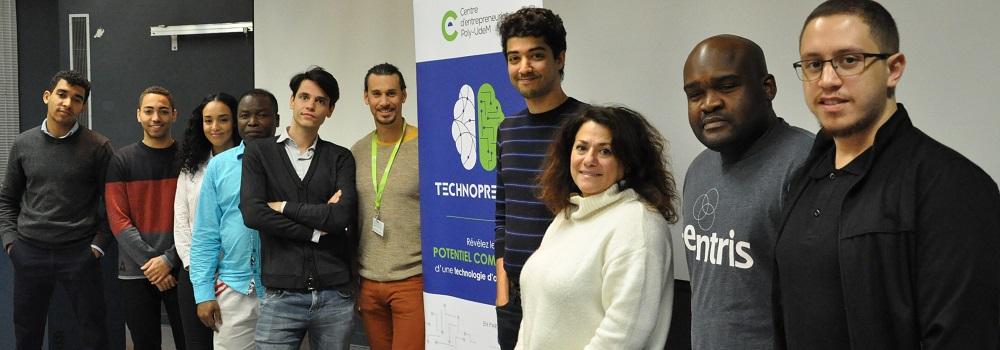 Certains membres de la 6e cohorte en compagnie de Cédric Duvivier et de Nada Zogheib du Centre d'entrepreneuriat poly-UdeM